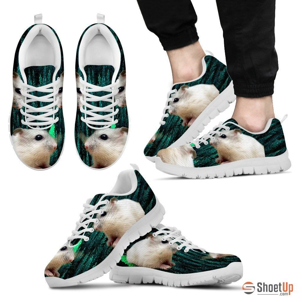 Dwarf Hamster Printed (White) Running Shoes For Men-Free Shipping Limited Edition - Deruj.com