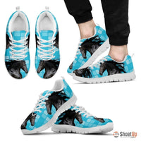Andalusian Horse Print (Black/White) Running Shoes For Men-Free Shipping Limited Edition - Deruj.com