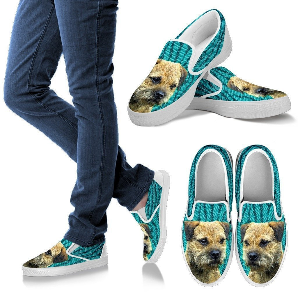 Border Terrier Print Slip Ons For Women-Express Shipping - Deruj.com