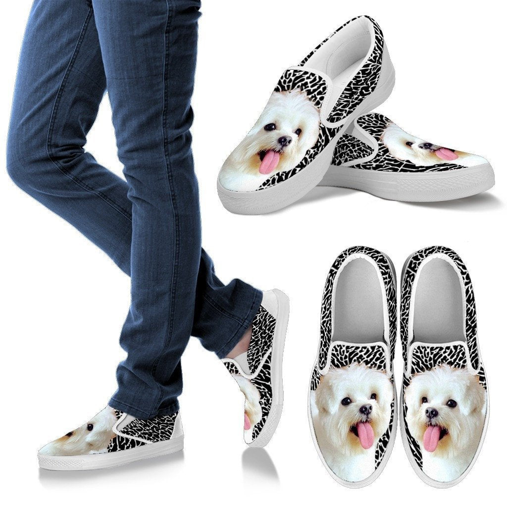 Maltese Print-Slip Ons For Women-Express Shipping - Deruj.com