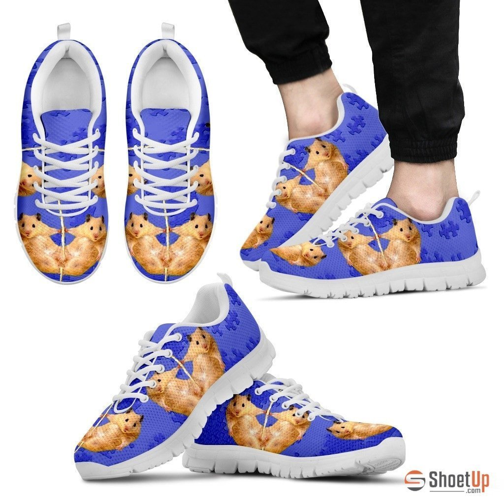 Golden Hamster Print (Black/White) Running Shoes For Men-Free Shipping Limited Edition - Deruj.com