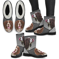 English Springer Spaniel Print Faux Fur Boots For Women- Free Shipping
