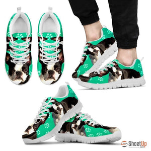Boston Terrier Paws Print (Black/White) Running Shoes For Men-Free Shipping Limited Edition - Deruj.com