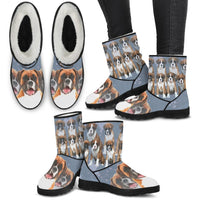 Boxer Dog Print Faux Fur Boots For Women-Free Shipping - Deruj.com