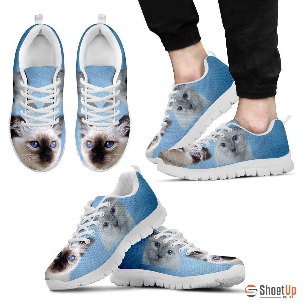 Cute Birman Cat Print Sneakers For Men(White/Black)- Free Shipping - Deruj.com