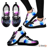 Russian Blue Cat Print (White/Black) Running Shoes For Women-Free Shipping - Deruj.com
