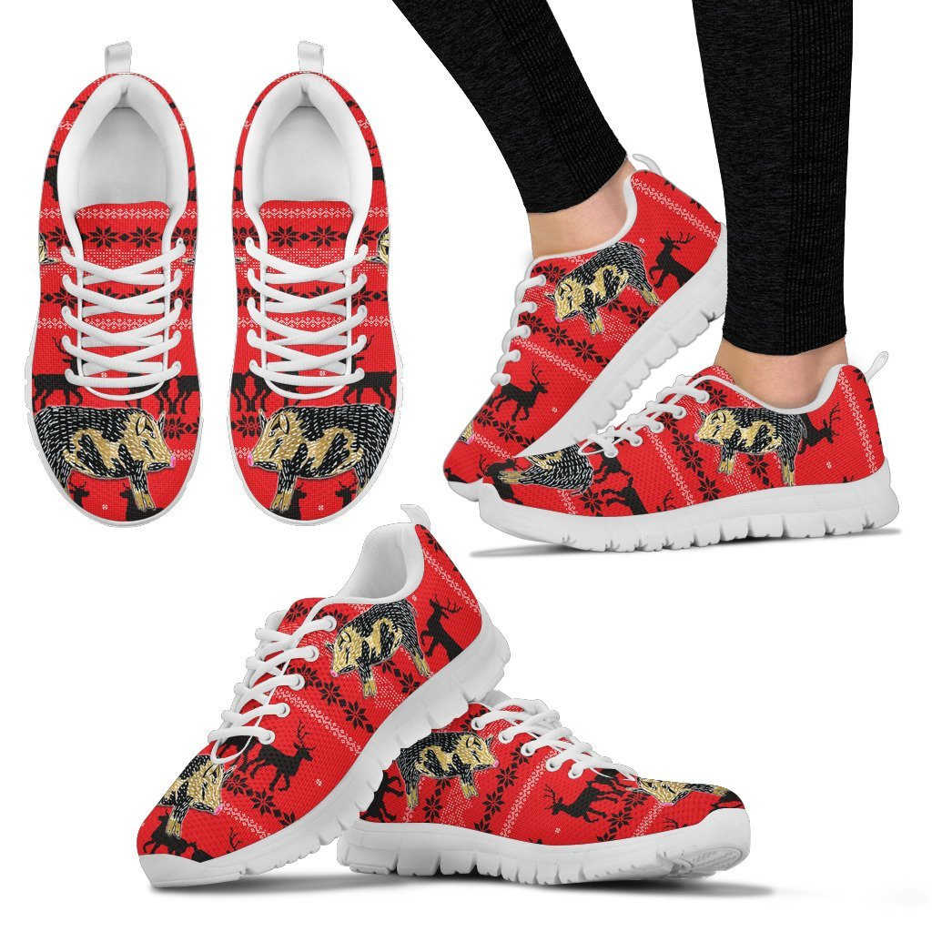 Ossabaw Island Pig Print Christmas Running Shoes For Women- Free Shipping - Deruj.com