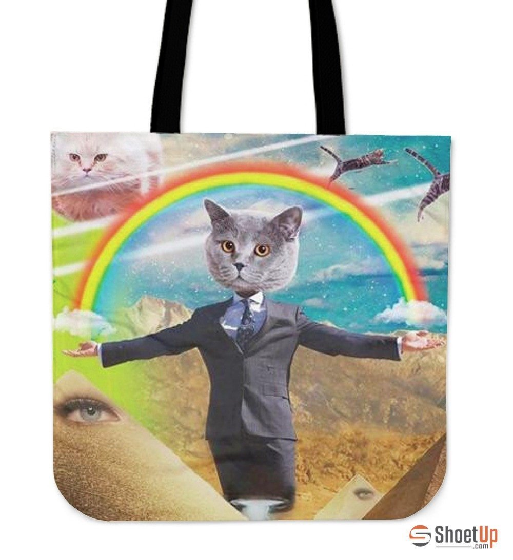 Rainbow With Cat Tote Bag-3D Print-Free Shipping - Deruj.com