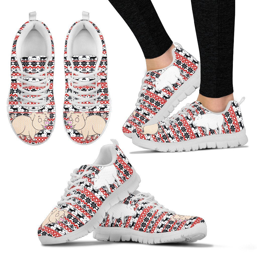 Vietnamese Pot Bellied Pig Print Christmas Running Shoes For Women- Free Shipping - Deruj.com
