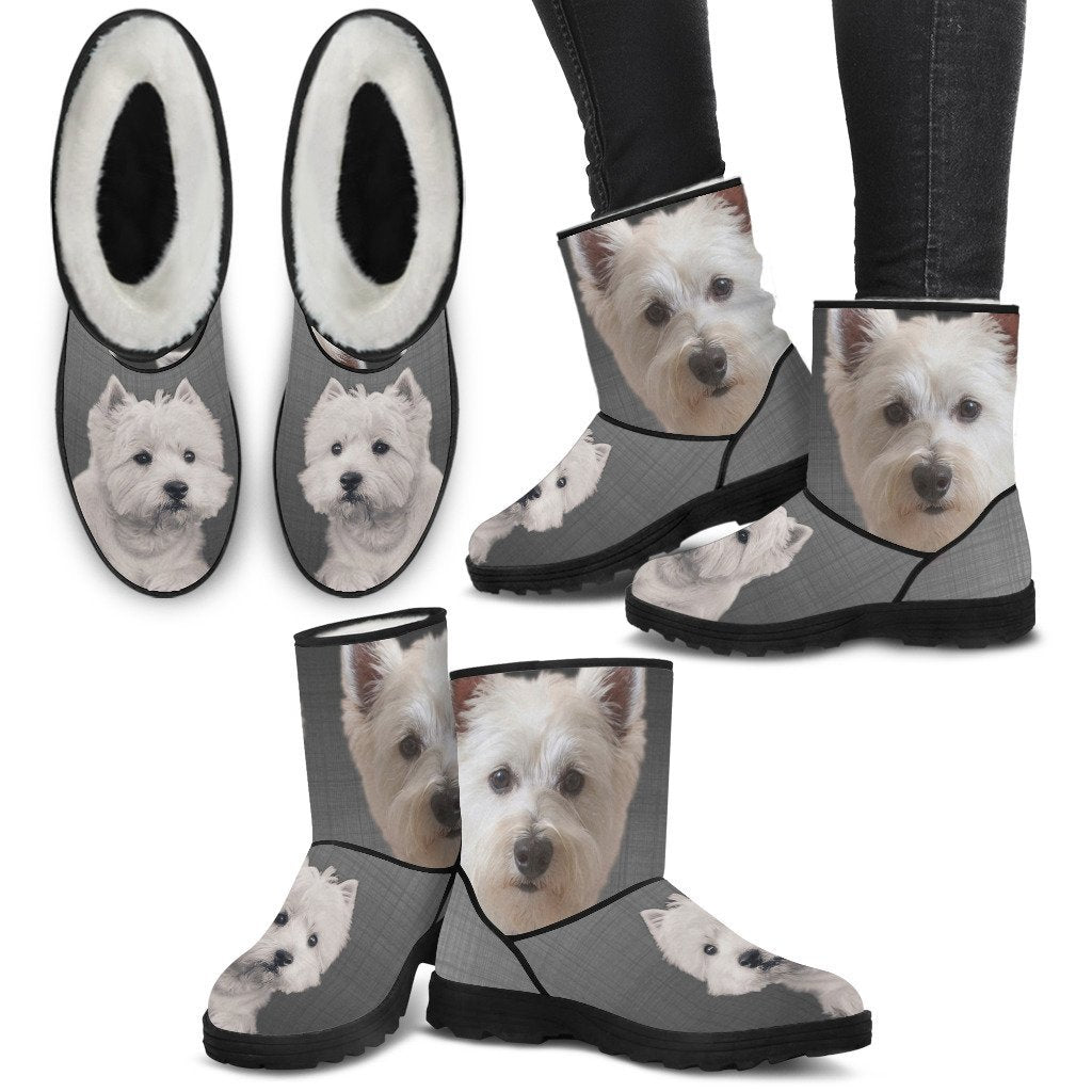 West Highland White Terrier Print Faux Fur Boots For Women-Free Shipping - Deruj.com