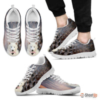 White Husky Dog Print Running Shoe For Men- Free Shipping - Deruj.com