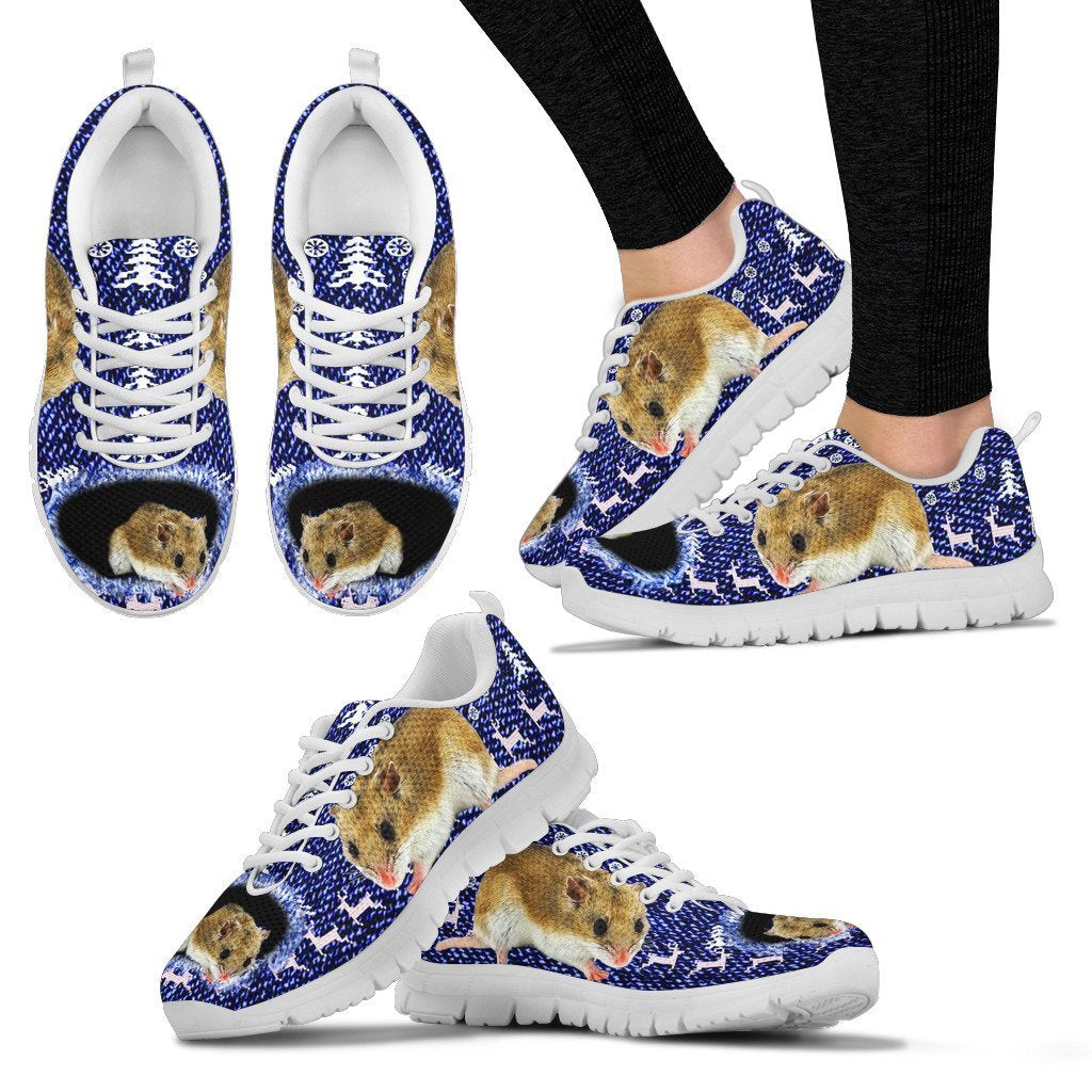 Chinese Hamster Print Christmas Running Shoes For Women- Free Shipping - Deruj.com