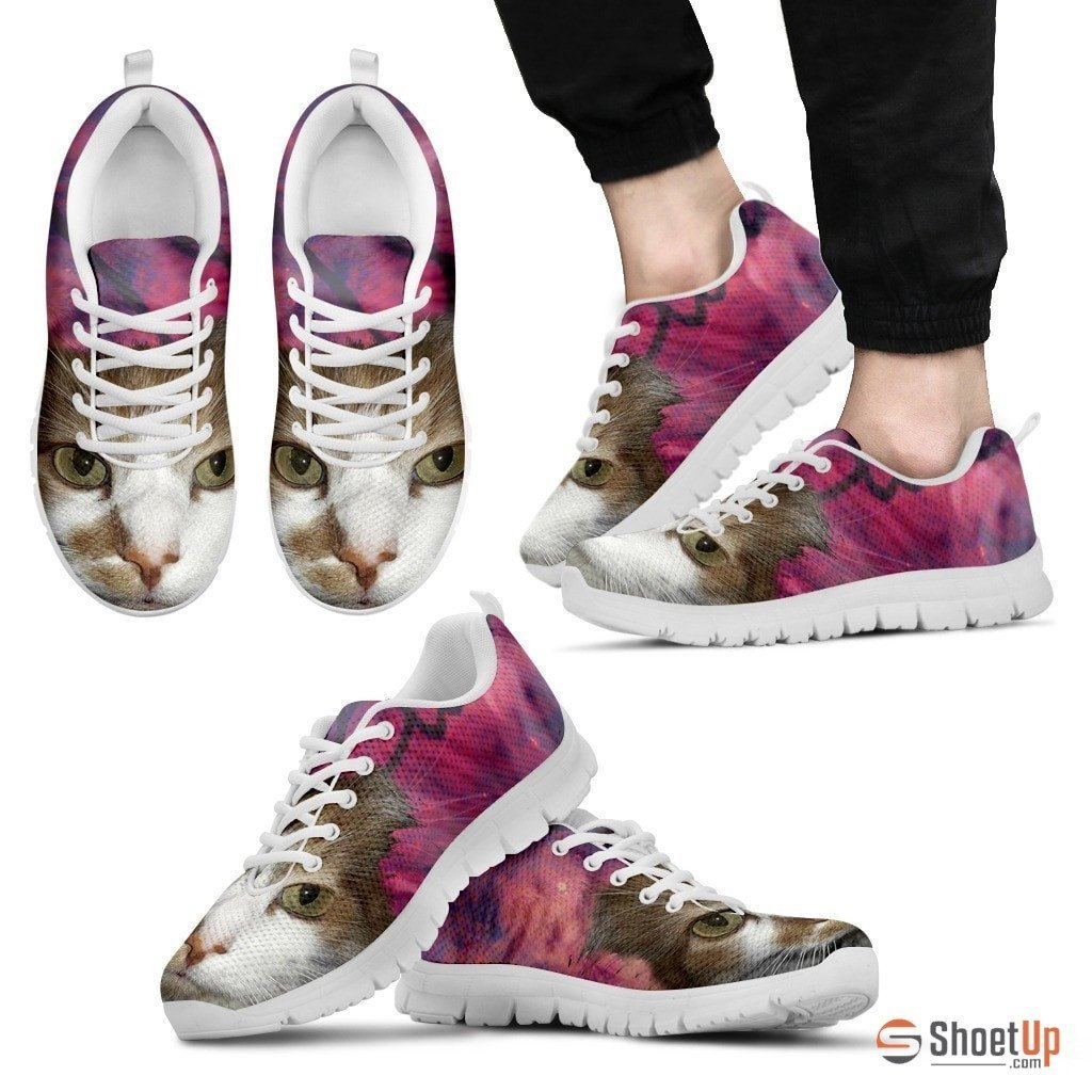 Cat Print Pink Running Shoe Men- Free Shipping - Deruj.com