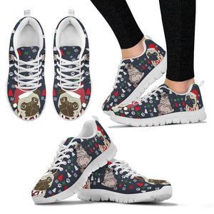 Pug Dog Christmas Print Running Shoes For Women-Free Shipping - Deruj.com