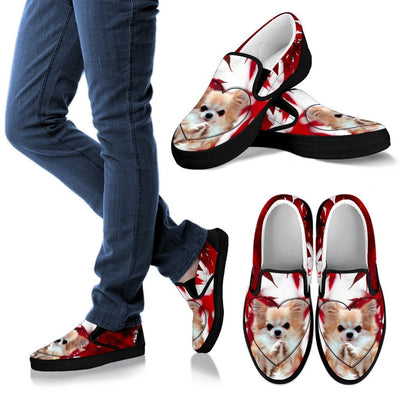 Valentine's Day Cute Chihuahua Dog On Red Print Slip Ons For Women- Free Shipping