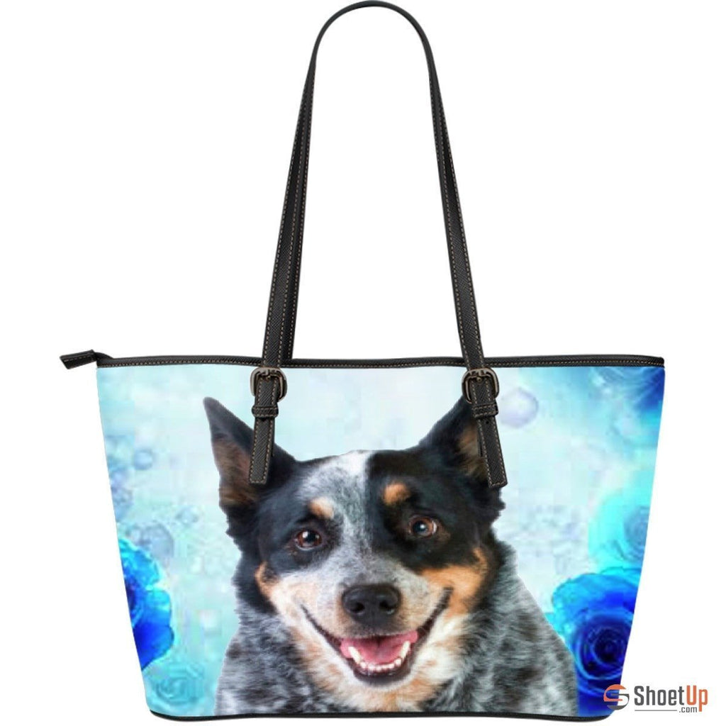 Cattle Dog-Large Leather Tote Bag-Free Shipping - Deruj.com