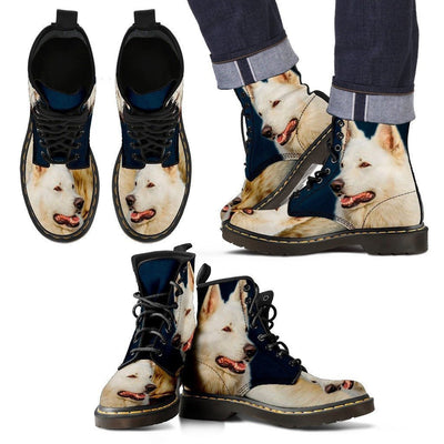 White Shepherd Print Boots For Men- Express Shipping - Deruj.com