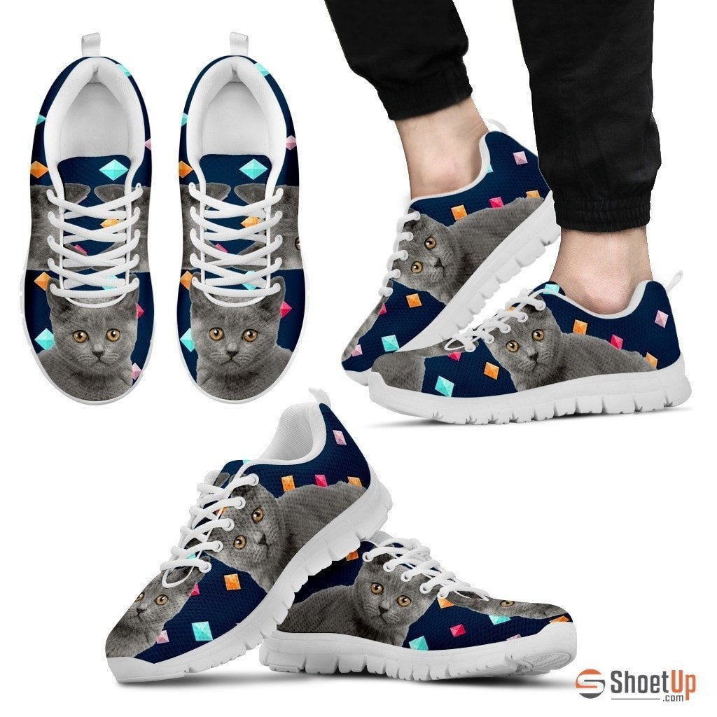 Chartreux Cat Print (White/Black) Running Shoes For Men-Free Shipping - Deruj.com