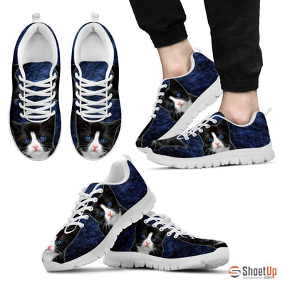 Ojos Azules Cat (Black/White) Running Shoes For Men-Free Shipping Limited Edition - Deruj.com