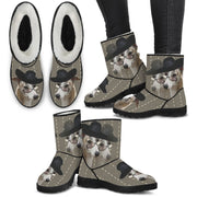 Whippet Print Faux Fur Boots For Women-Free Shipping - Deruj.com
