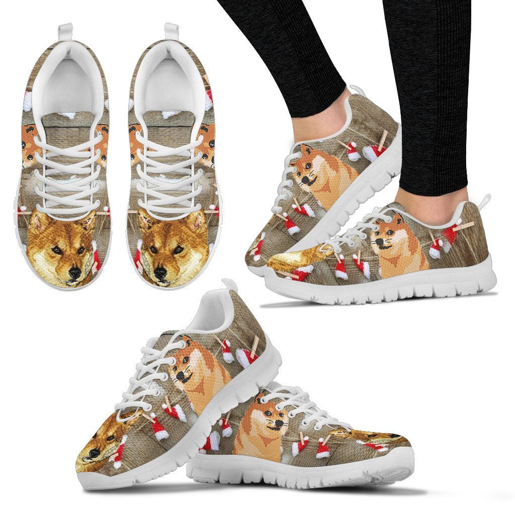 Shiba Inu Christmas Running Shoes For Women- Free Shipping - Deruj.com