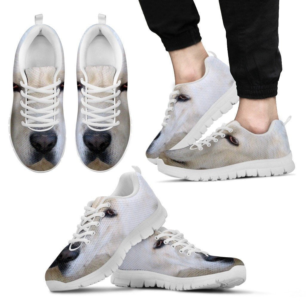 Central Asian Shepherd Dog (White/Black) Running Shoes For Men-Free Shipping - Deruj.com