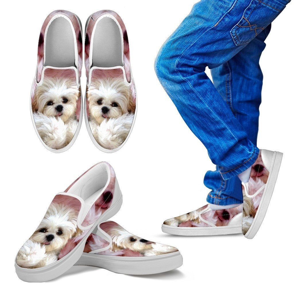 Shih Tzu Print Slip Ons For Kids- Express Shipping - Deruj.com