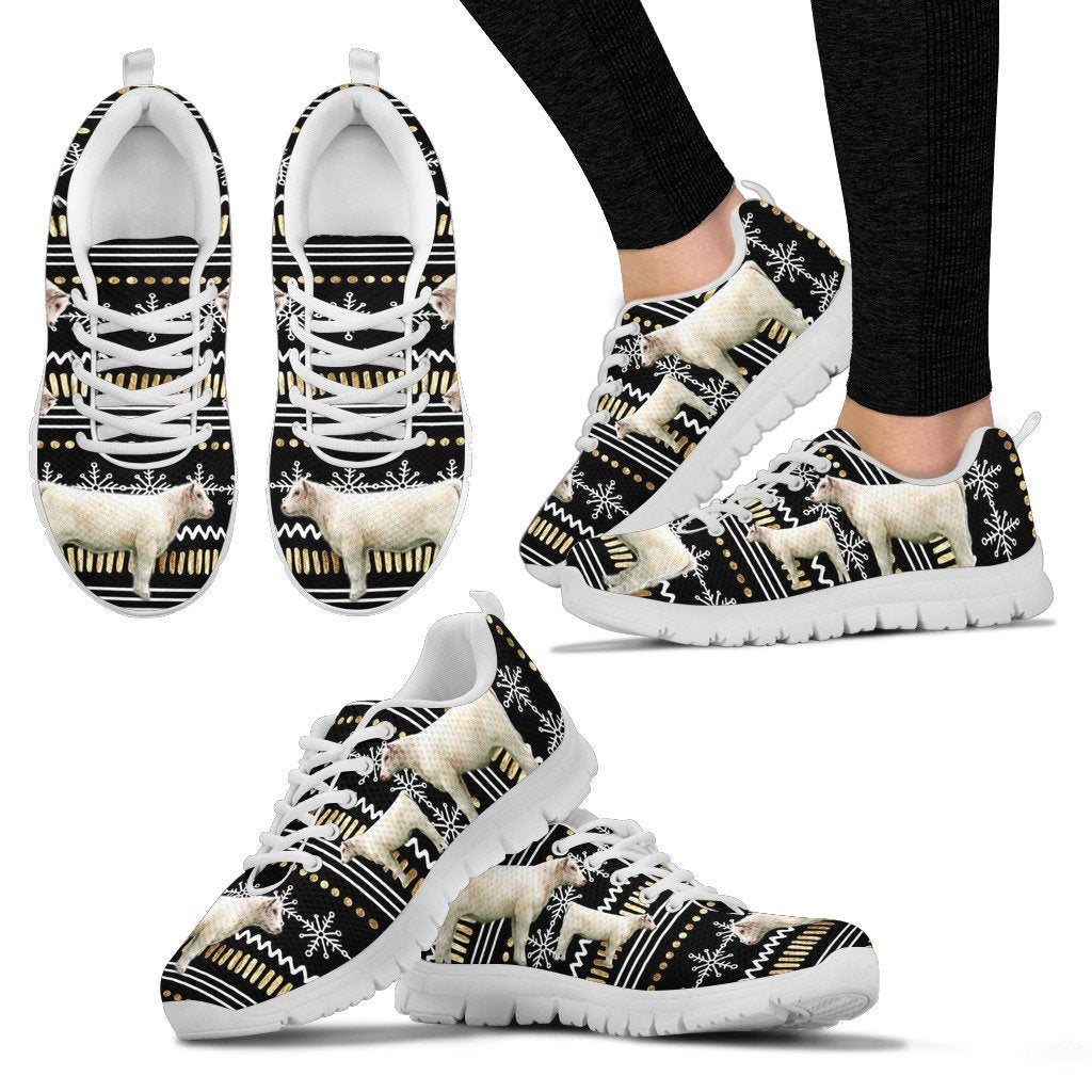 Shorthorn Cow Print Christmas Running Shoes For Women- Free Shipping