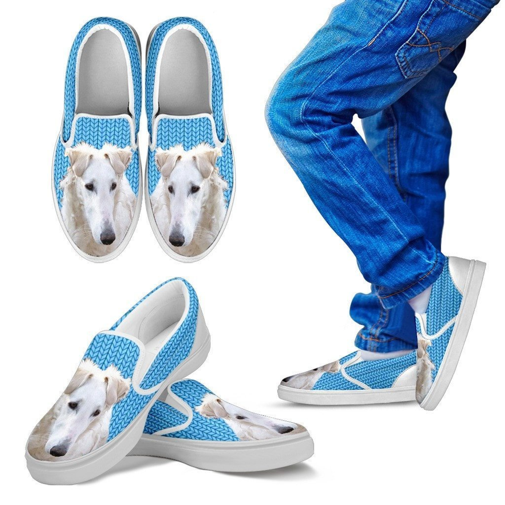 Borzoi Dog Print Slip Ons For Kids-Express Shipping - Deruj.com
