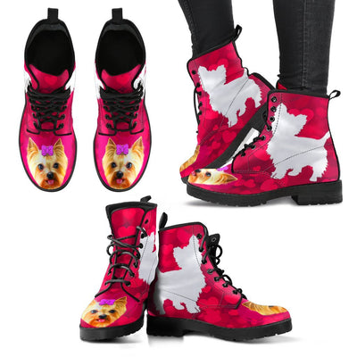Valentine's Day Special-Yorkie On Red Print Boots For Women-Free Shipping - Deruj.com
