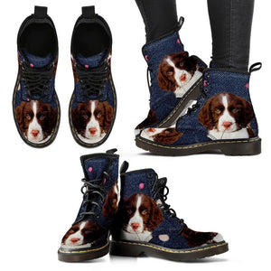 English Springer Spaniel Print Boots For Women-Express Shipping - Deruj.com