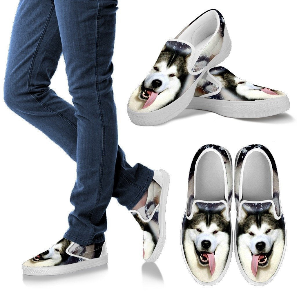 Alaskan Malamute Dog Print Slip Ons For Women- Express Shipping - Deruj.com