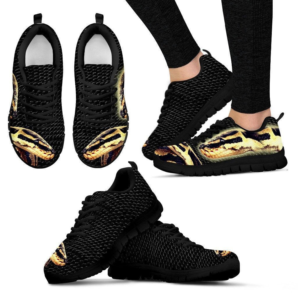Customized Snake Print-(Black) Running Shoes For Women-Express Shipping-Designed By Tracy Neill - Deruj.com