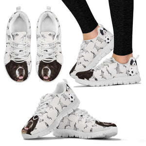 Landseer Print Running Shoes For Women(White/Black)- Express Shipping - Deruj.com