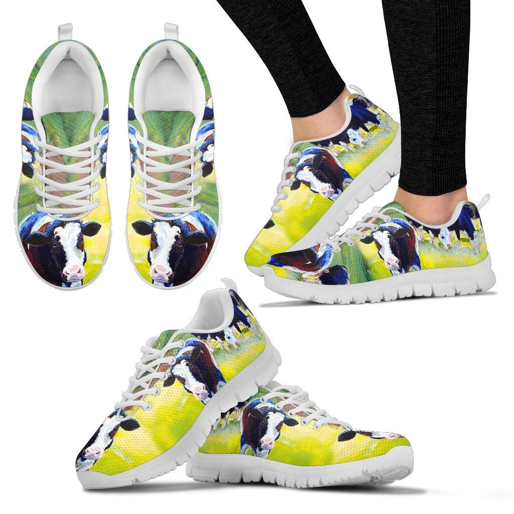 Holstein Friesian Cattle Cow Art Print Christmas Running Shoes For Women- Free Shipping