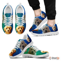Beautiful Goldendoodle Print Sneakers For Men (White/Black)- Free Shipping - Deruj.com