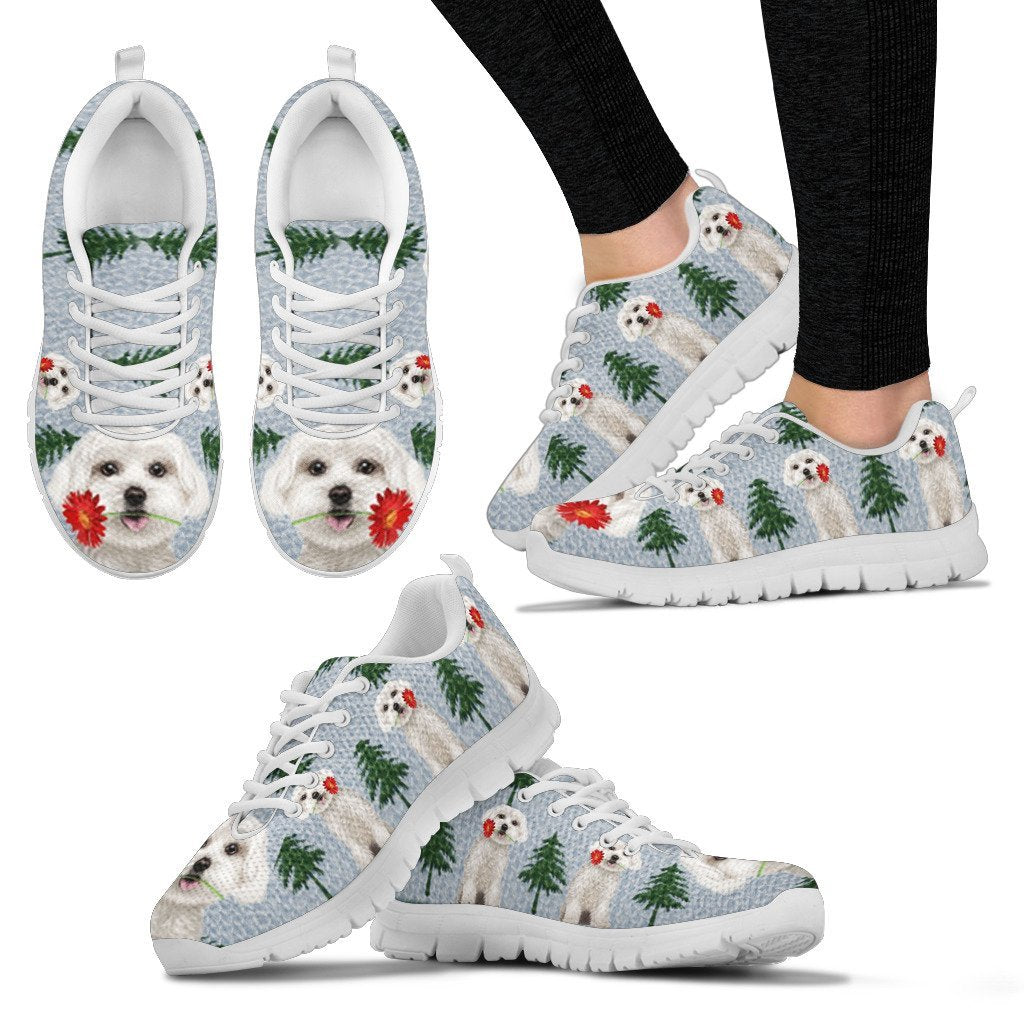 Maltese Dog Christmas Print Running Shoes For Women-Free Shipping - Deruj.com