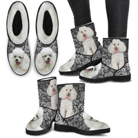 Poodle Print Faux Fur Boots For Women-Free Shipping