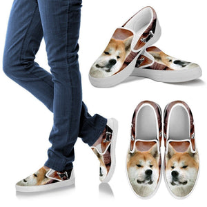 Akita Dog Print Slip Ons For Women- Express Shipping - Deruj.com