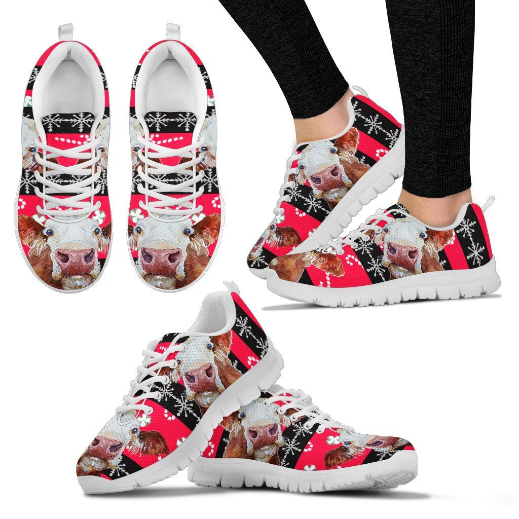 Hereford Cattle Cow Christmas Print Running Shoes For Women- Free Shipping - Deruj.com