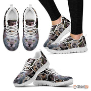 Lykoi Cat Print (White/Black) Running Shoes For Women-Free Shipping - Deruj.com