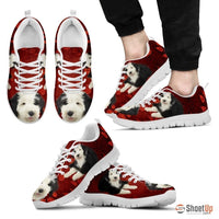 Old English Sheepdog Print Sneakers For Men(White)- Free Shipping - Deruj.com