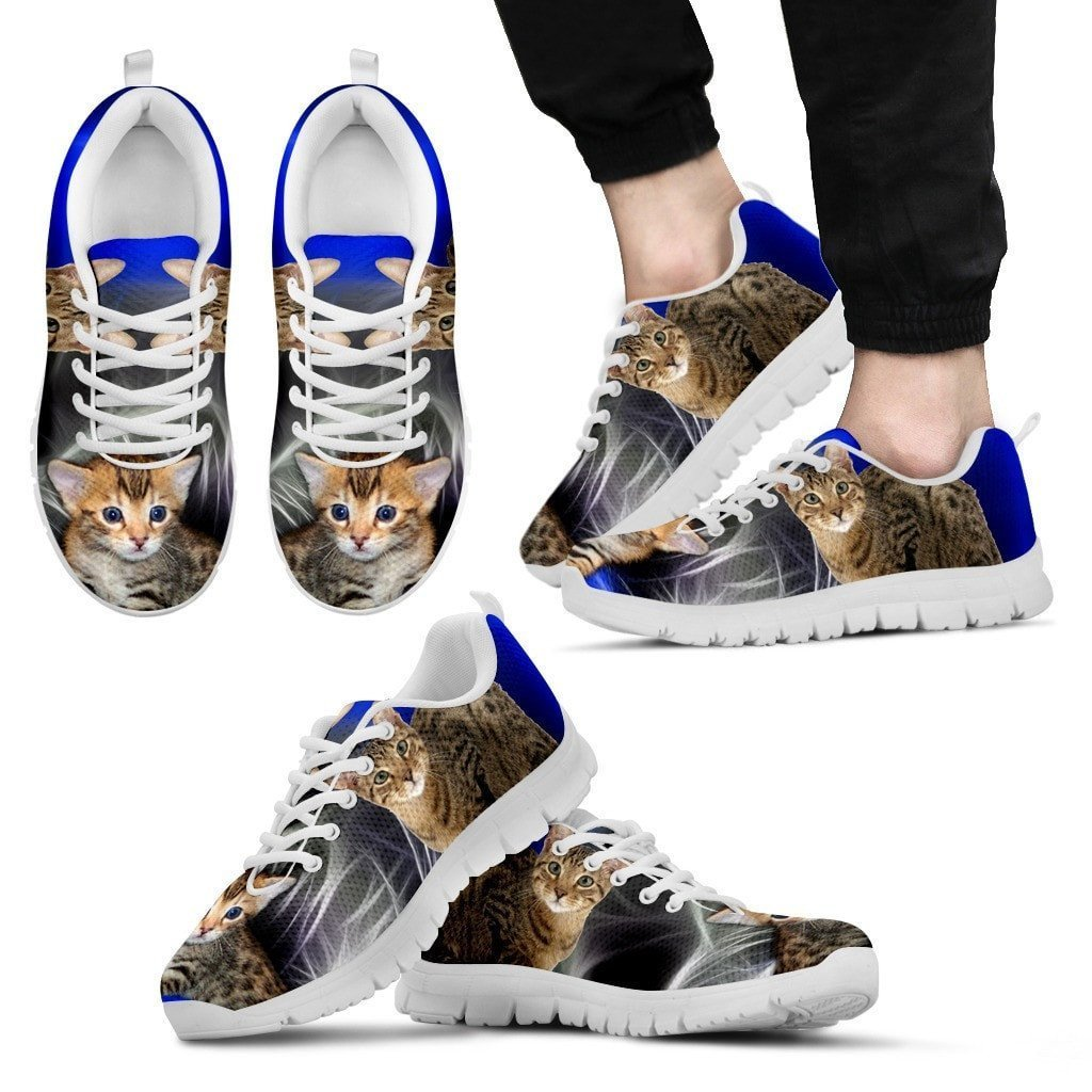 Serengeti Cat Print (White/Black) Running Shoes For Men-Free Shipping - Deruj.com