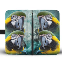 Blue and Yellow Macaw Print Wallet Case-Free Shipping - Deruj.com