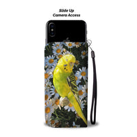 Yellow and Black Parakeet Print Wallet Case- Free Shipping - Deruj.com
