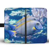 Grey And Yellow Tang Fish Print Wallet Case-Free Shipping - Deruj.com