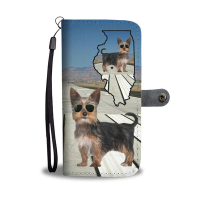 Yorkshire Terrier Print Wallet Case-Free Shipping-IL State