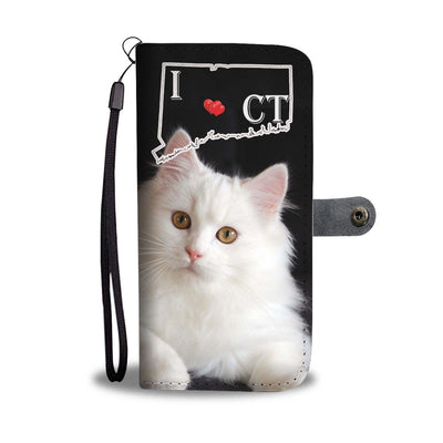 Persian Cat Print Wallet Case-Free Shipping-CT State - Deruj.com