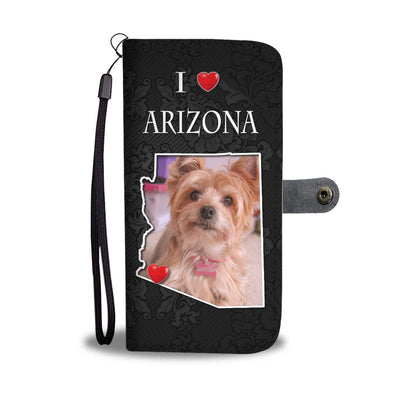 Yorkshire Terrier On Black Print Wallet Case-Free Shipping-AZ State