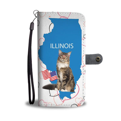 Maine Coon Cat Print Wallet Case-Free Shipping-IL State